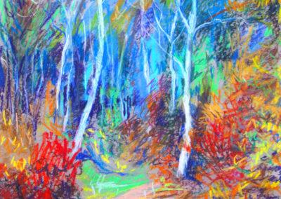 """Aspens in the Fall"" - dry pastel on paper by Kamila Kokoszynska"