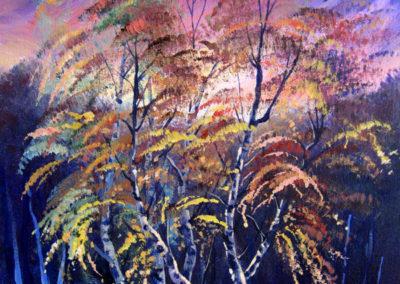 """Dancing Birches"" - acrylic on canvas by Kamila Kokoszynska"