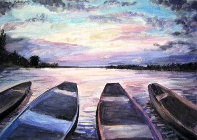 """""""Boats"""" - tempera on paper by Kamila Kokoszynska"""