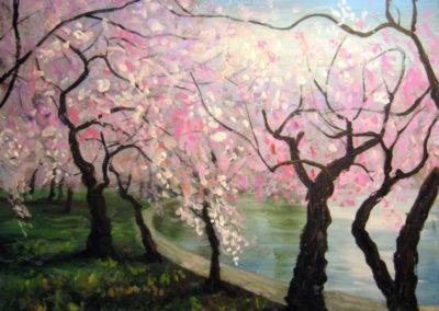 """""""Cherry Blossoms at the Tidal Basin"""" - acrylic on canvas by Kamila Kokoszynska"""