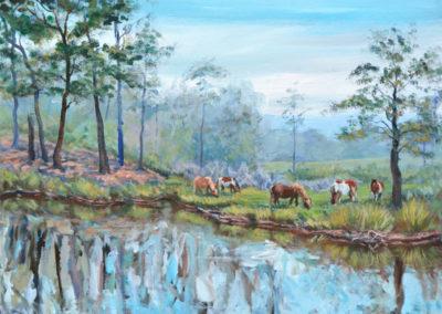 """Chincoteague Ponies"" - acrylic on canvas by Kamila Kokoszynska"