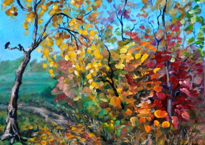 """""""Fall Road"""" - acrylic on canvas by Kamila Kokoszynska"""