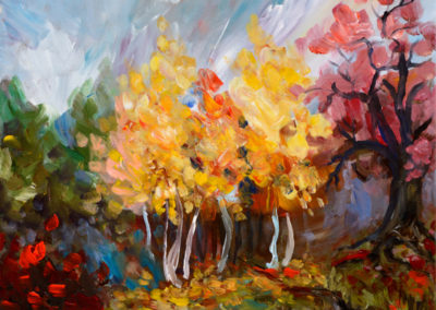 """Golden Birches"" - acrylic on canvas by Kamila Kokoszynska"