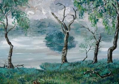 """""""Rainy Day in Needwood Park"""" - acrylic on canvas by Kamila Kokoszynska"""