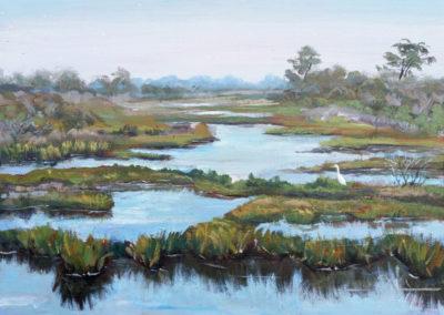 """""""Assateague Marshes and the White Crane"""" - acrylic on canvas by Kamila Kokoszynska"""