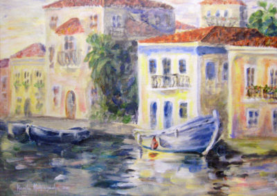 """Warm Sunset in the Greek Harbor"" - acrylic on canvas by Kamila Kokoszynska"