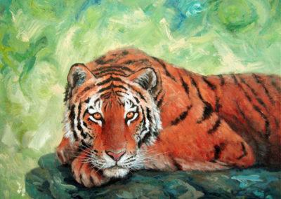 """""""Tiger"""" - acrylic painting on canvas by Kamila Kokoszynska"""