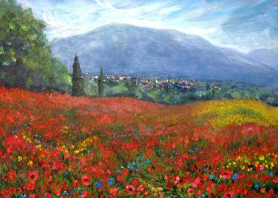 """Tuscan Poppies"" - acrylic on canvas by Kamila Kokoszynska"