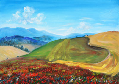 """Tuscan Poppyfield"" - acrylic painting on canvas by Kamila Kokoszynska"