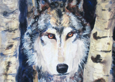 """Wolf"" - tempera and acrylic on paper by Kamila Kokoszynska"